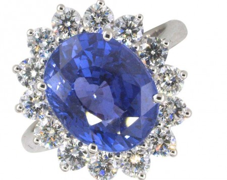GIA Certified 7.25 Carat Unheated Ceylon Sapphire Diamond Ring