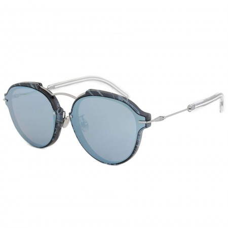 Dior Eclat Sunglasses   Blue/Black/Silver Frames & Blue-Grey Lens