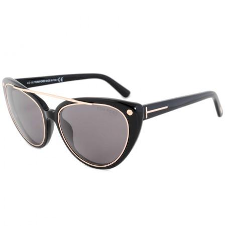Tom Ford Edita Sunglasses FT0384 01A   Black/Gold Frame   Grey Lens