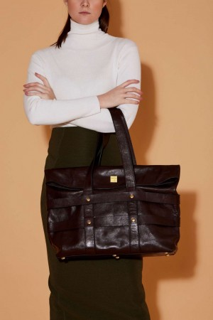 The Industrial Tote Bag in Dark Chocolate Italian Leather