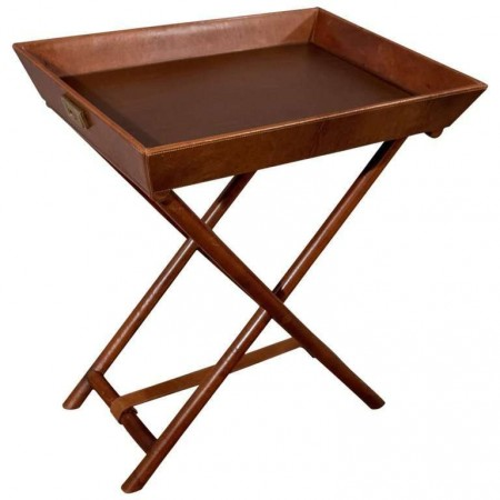 Quality Leather Butlers Stand Tray Side Drinks Occasional Table, 20th Century