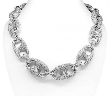 14K White Gold Custom Diamond Chain 76.65 CTW (FREE SHIPPING)