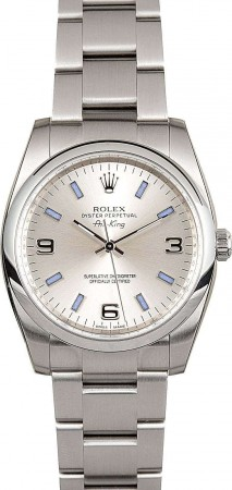 Rolex Oyster Perpetual 34 Silver Dial Stainless Steel Men\'s 114200