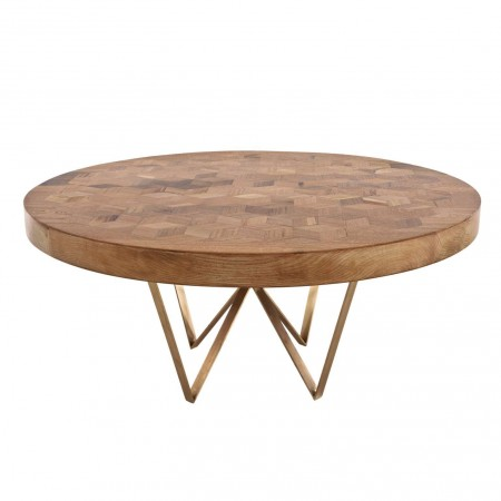 Maurits Round Marquetry Table in Reclaimed Oak from Old Italian Wine Barrels