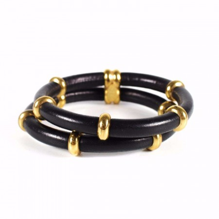 Chanel -  Double Strand Vintage Leather Bracelet Cuff