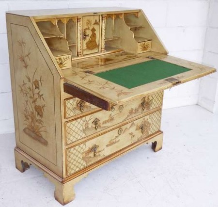 18th Century Cream Chinoiserie Bureau