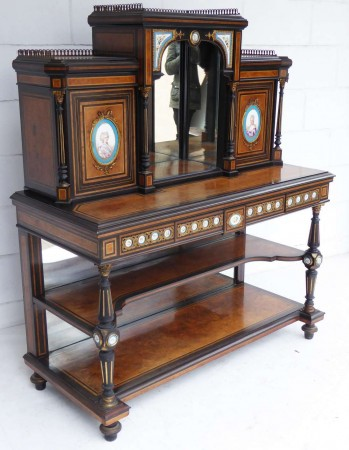 19th Century Ebony and Thuya Wood Bonheur Du Jour