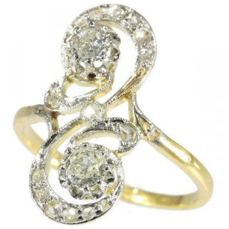 Antique Two Diamond and Gold Ring