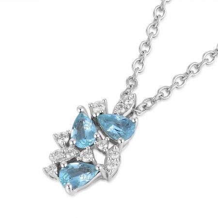 18K White Gold Tourmaline Diamond Necklace