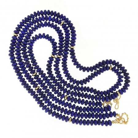 Multi Strands Lapis and Gold Rondelle Necklace 6505
