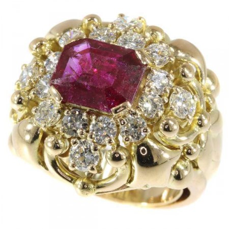Wolfers Ruby and Diamond Ring