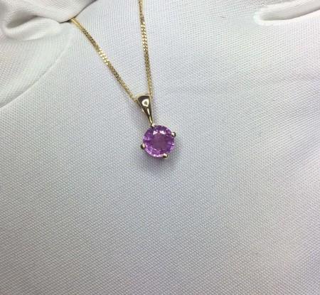 UNTREATED Pink Purple Sapphire Pendant 18k Gold GIA CERTIFIED Round Diamond Cut