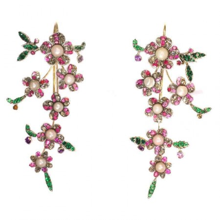 Rococo Floral Dangle Earrings 18k yellow gold colorful stones