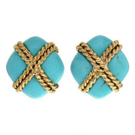 Turquoise Criss Cross Earrings with Twisted Wire