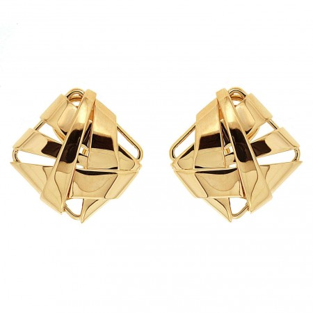 Geometric Fold Over Gold Earrings