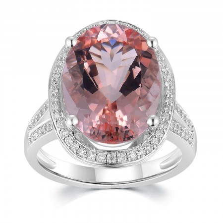 18K White Gold Morganite Diamond Ring