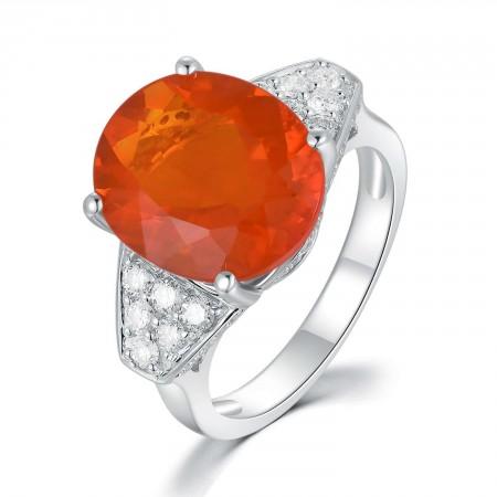 18K White Gold Opal Diamond Ring