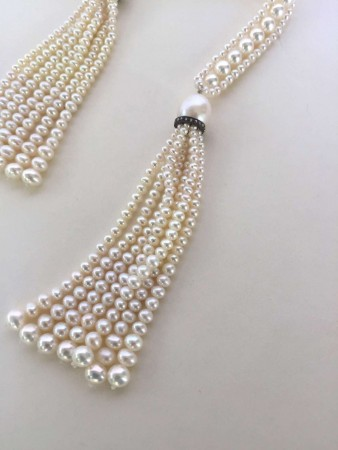 Pearl Rope Sautoir with Pearl Tassel and Diamond Encrusted Roundel