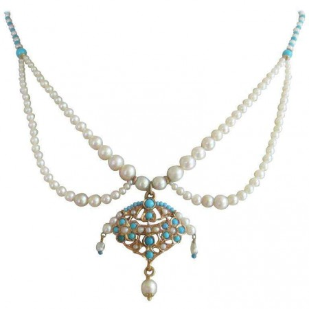 Graduated Pearl and Turquoise Beaded Necklace with Gold Pendant by Marina J
