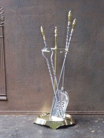 English Polished Steel and Brass Fire Tools with Stand