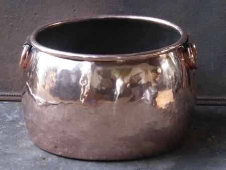 Polished Copper Log Holder, Log Bin