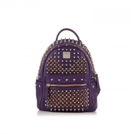 MCM Purple Leather Stark Special Swarovski Small Backpack