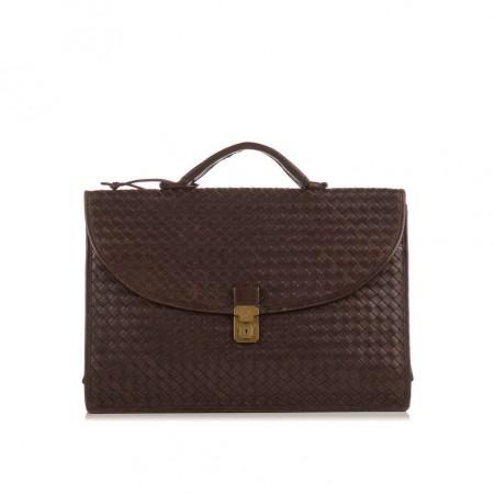 BOTTEGA VENETA  Dark Brown Intercciato Woven Top Handle Briefcase