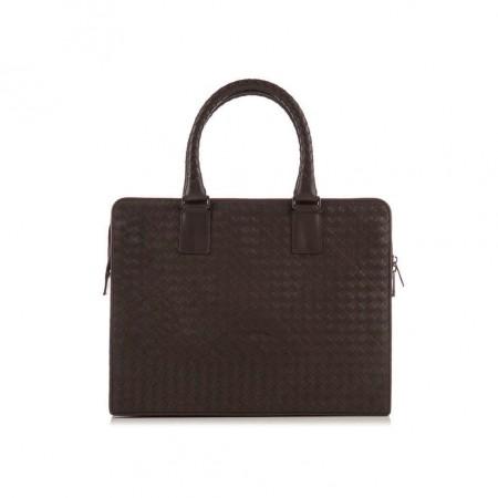 BOTTEGA VENETA  Dark Brown Intercciato Woven Briefcase