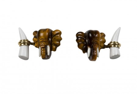 Elephant Cufflinks in Tiger's Eyes and White Agate