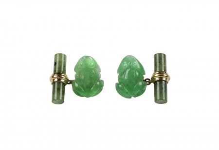 Frog Cufflinks in Jade