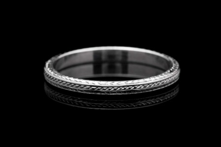 Hand Engraved Art Deco Wreath Style Eternity Wedding Band in 18K White Gold