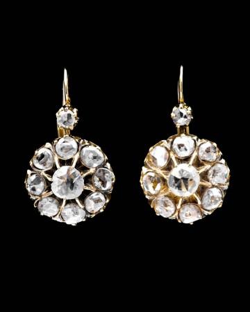 Stunning Georgian Rose Cut Diamond Earrings in 18K Yellow Gold
