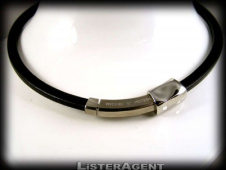 BREIL RIGID NECKLACE IN BLACK LEATHER AND STEEL
