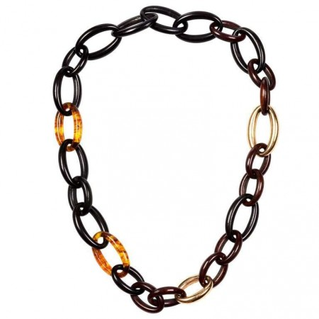 GROUMETTE NECKLACE IN WOOD, AMBER AND GOLD