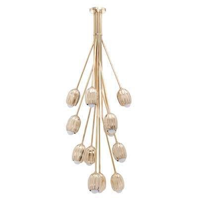 Poppy V. Chandelier in Lost Wax Cast Brass, 12 Stems