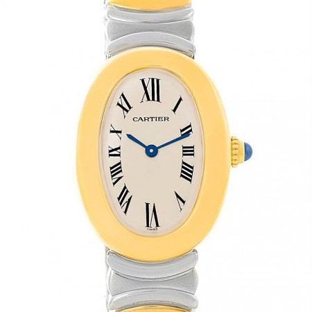 Cartier Baignoire Ladies Steel 18k Yellow Gold Watch W15045D8