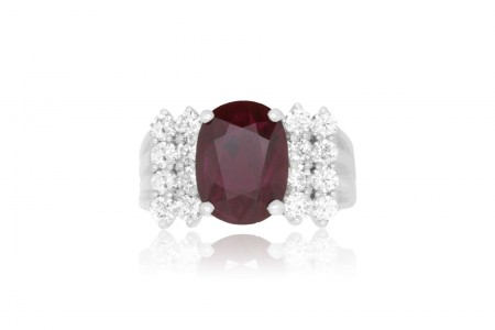 3.11 Carat Oval Ruby and 0.82 Carat Diamond Ring