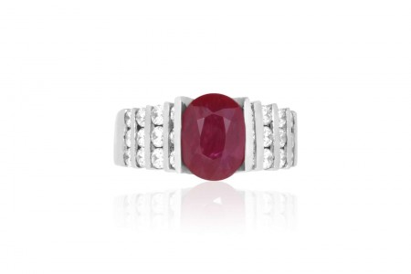 1.90 Carat Oval Ruby and 0.90 Carat Diamond Ring