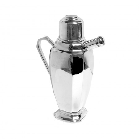 Silver plate cocktail shaker with spout, stopper and handle c.1900