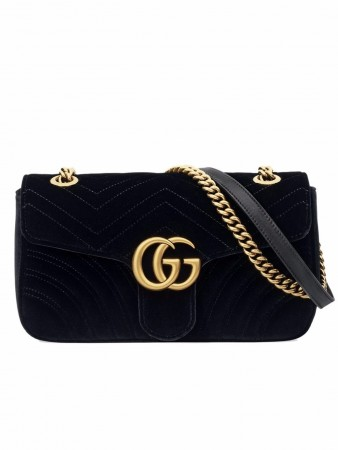 GUCCI GG MARMONT BLACK VELVET SHOULDER BAG