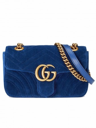 GUCCI GG MARMONT COBALT BLUE VELVET SHOULDER BAG