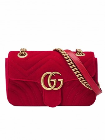 GUCCI GG MARMONT RED VELVET SHOULDER BAG