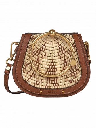 CHLOÉ NILE SMALL CARAMEL IN RAFFIA LEA