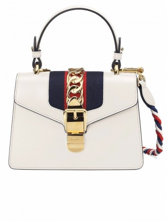 GUCCI MINI SYLVIE IVORY LEATHER CHAIN