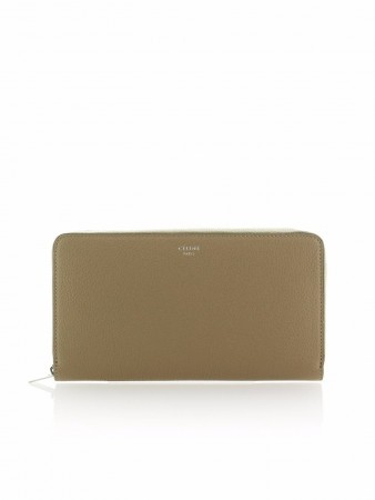 CÉLINE LARGE ZIPPED MULTIFUNCTION DUNE DRUMMED LEATHER WALLET