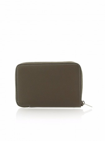 CÉLINE MEDIUM ZIPPED AROUND SOURIS DRUMMED LEATHER WALLET