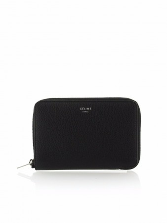 CÉLINE MEDIUM ZIPPED AROUND BLACK DRUMMED LEATHER WALLET