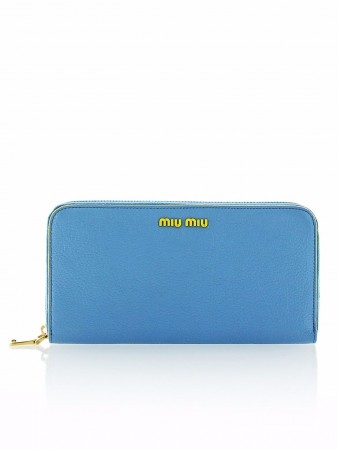 MIU MIU MADRAS SKY BLUE AND YELLOW LOGO ZIP AROUND WALLET