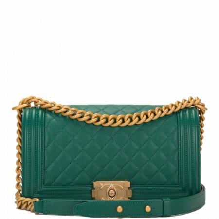 Chanel Green Caviar Quilted Medium Boy Bag