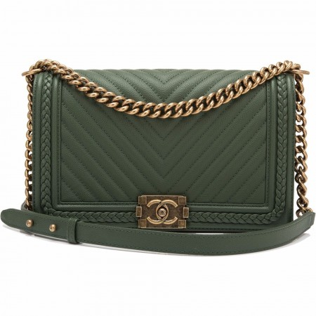 Chanel Green Braid Around Chevron Quilted Caviar New Medium Boy Bag
